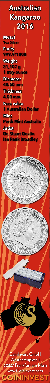 Australian Silver Kangaroo 2016 Bullion Coin Infographic