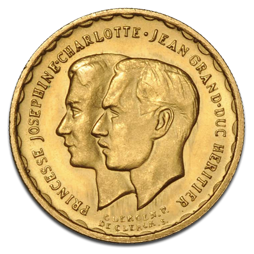 20 Luxembourgian Francs Wedding Joséphine Charlotte & Jean| Gold | 1953