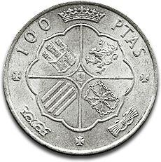 100 Pesetas Silver Coin F