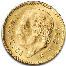 5 Mexican Peso Gold Coins