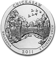 America the Beautiful Chickasaw 5oz Silver Coin 2011 F