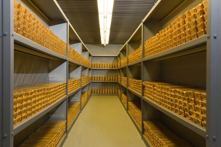 Goldreserven der Deutschen Bundesbank – Undatierte Aufnahme aus einem Tresor in Frankfurt. © Deutsche Bundesbank